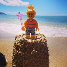 Princess Juls of Hawaii #lego #fab-bricks #birthday #minifigs #minifigures #princess #holiday #vacation #blondegirl #hawaii #wand #sunseasand #boardshorts #crown