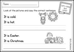 There are 20 pages of sentence writing worksheets in this product. These pages are great for pre-K, kindergarten and first grade students. Children will practice writing the correct sentences. Children are encouraged to use thinking skills while improving their comprehension and writing skills. These pages are great for morning work, word work and literacy centers.