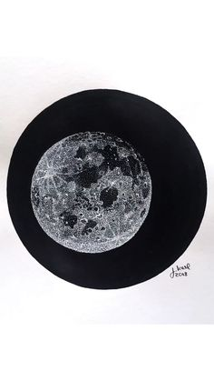 Full Moon by Julia Karl. White ink on black ink #art #drawing #ink #illustration #diy #artsandcrafts #draw #sketch #drawingtutorial #drawyourself #ink #moon #space