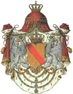 Coat of arms of the Grand Duchy of Baden, Großherzogtum Baden. The Margraviate of Baden was divided into 2 parts, one ruled by the Catholic Margraves of Baden-Baden, and the other by the Protestant Margraves of Baden-Durlach. In 1771, the main Baden-Baden line became extinct, and all of the Baden lands came under the rule of Baden-Durlach. The reunited margraviate existed until 1803.