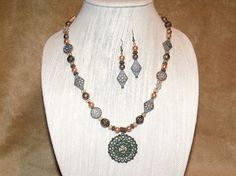 Bohemian Mixed Bead Pendant Necklace and by CJKingOriginals