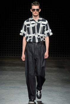 I like the vintage concept  but I think the pants are a little too big on him .   E. Tautz Spring 2016 Menswear - Collection - Gallery - Style.com