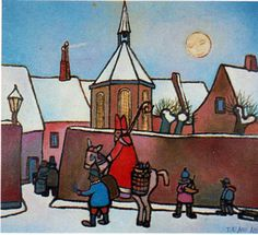 Sinterklaas in Amersfoort, Toon Tieland, 1965 - Blumen Basteln St Claus, Santa Clause, St Nicholas Day, Dutch Artists, Netherlands, Saints, December, Drawings, Painting