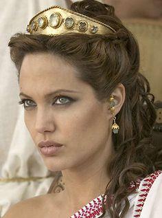 greek goddess makeup and hair | Angelina Jolie as Olympias