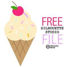 Free Ice Cream Cone Silhouette Studio Design Cut File - Silhouette School
