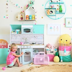 Play kitchen for toddlers and children - adorable double sided playhouse and kitchen for children by Plum Play Australia.