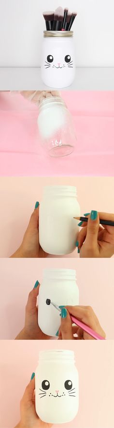48 New Ideas for diy makeup storage crafts mason jars Mason Jar Crafts, Mason Jars, Fun Crafts, Diy And Crafts, Easter Crafts, Diy Simple, Do It Yourself Inspiration, Style Inspiration, Kawaii Diy