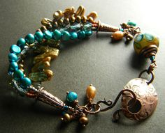 Lampwork and Pearl Bracelet Copper Teal Yellow One by ChrysalisToo