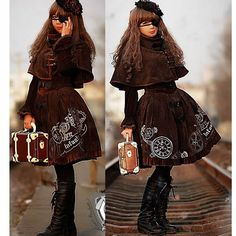 Chocolate Brown Velvet Corset Steam Punk Gothic Fashion Dresses Women SKU-11402471
