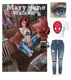 Mary Jane Watson by karabear3256 on Polyvore featuring polyvore, Rosetta Getty, River Island, Price & Kensington, fashion, style and clothing