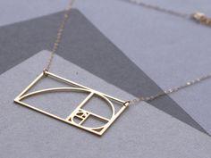 Fibonacci Spiral Golden Ratio necklace van WildThingStudio op Etsy, $70.00