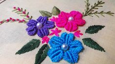 Hand Embroidery: Flower Embroidery by nakshi katha.