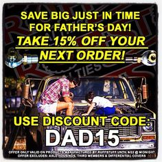 Father's Day Special! 15% OFF your next order with discount code: DAD15 *Offer only valid on products we manufacture. *Excludes axle housings, third members & diff covers.  #fathersday #ruffstuffspecialties #sale #offroad #fabrication #4x4 #4wheel #strengthqualityvalue