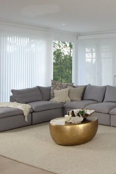 Luxaflex Luminette Privacy Sheers, Living Room - Three Birds Renovations House 8, Bonnie's Dream Home