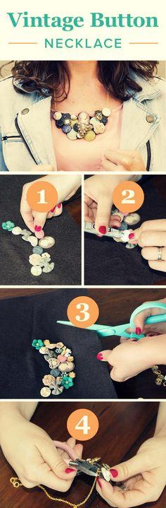 DIY Vintage Button Necklace Use the vintage style buttons you have in your sewing box to create this preciousness || Usa los botones de estilo vintage que tengas en tu costurero para crear esta preciosidad via: @darbysmart