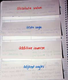Middle School Math Madness!: Vocabulary in the Interactive Notebook