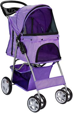 Pet Stroller Cat Dog 4 Wheeler Stroller Travel Folding Carrier Purple -- See this great product. (This is an affiliate link and I receive a commission for the sales)