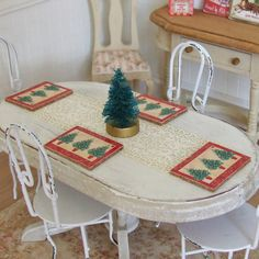 Dollhouse Miniature, Christmas Placemats, Red Tree Design, Table Decoration, Pack 4 or 6, Place Mats, Shabby Cottage Chic, 1:12th Scale