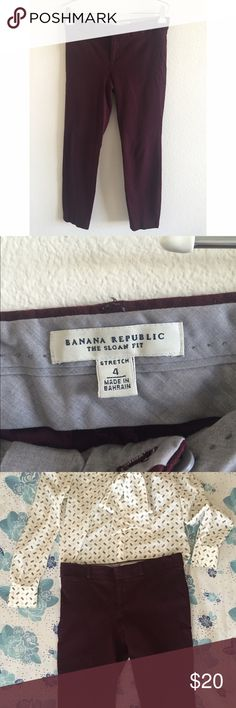 Banana Republic Sloan Fit Trousers Oxblood Banana Republic Sloan Fit trousers. Worn quite a bit, but in great condition. Looks great with heels, flats and oxfords. Shirt shown in picture is available in a separate listing. Size 4. Banana Republic Pants Trousers