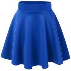 MBJ Womens Basic Versatile Stretchy Flared Skater Skirt (£5.43) ❤ liked on Polyvore featuring skirts, bottoms, faldas, circle skirt, blue skater skirt, flared skirt, blue skirt and stretch skirt