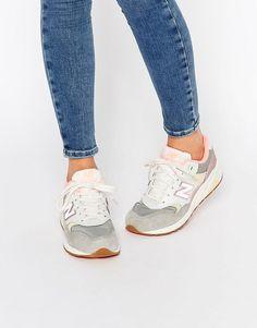 New Balance - 580 - Gepunktete Sneakers in Weiß und Rosa