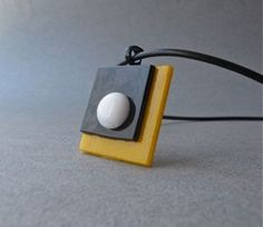 Asymmetrical Yellow Black White Fused Glass Pendant by Glassimo, $23.00