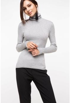 DeFacto Women's Gray Half-Throat Sweater