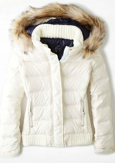 white puffer jacket with faux fur hoodie