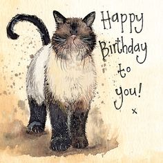 'Coco' Funny Cat Greeting Card by Alex Clark Humorous Birthday Greetings Cards Birthday Wishes For Kids, Happy Birthday Wishes Cards, Happy Birthday Pictures, Birthday Wishes Quotes, Happy Birthday Balloons, Birthday Greeting Cards, Happy Birthday With Cats, Happy Birthday Sayings, Happy Birthday Artist