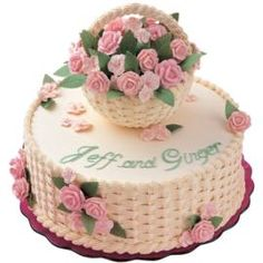Cake with basket weave technique-awesome for anniversaries, garden party, mother's day or just to celebrate summer!
