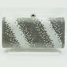 Tigerstars l $32.00 Dazzling Silver Rhinestone Pearl Bead Evening Case Clutch Purse Bag