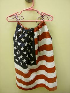 Patriotic pillowcase dress, made from two handkerchiefs.