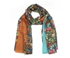 Green Floral Scarf in silky fabric with stunning bronze and turquoise inserts