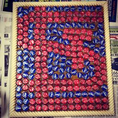 My masterpiece of bottle caps #cardinals #baseball Paul I found what to do with your bottle caps :)