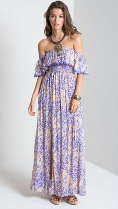 Santa Maria Off Shoulder Maxi Dress in Purple