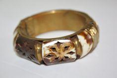 Vintage Carved Bracelet Brass Ox Bone Tribal Bangle by patwatty, $20.00