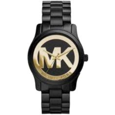 Pre-owned Michael Kors Watch ($205) ❤ liked on Polyvore featuring jewelry, watches, accessories, black and gold, michael kors watches, preowned jewelry, michael kors, polish jewelry and pre owned watches