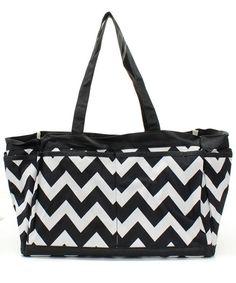 Large Black and White Chevron Tote-Nurse Bag-Teacher Bag- Scrapbooking Tote-Includes Monogram- Chevron on Etsy, $26.95