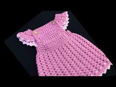 Crochet overall dress for girls 0-18M, Easy crochet baby dress, Crochet for Baby - YouTube