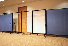 Allow light to travel into your divided space with clear room dividers.  Use wet erase markers on the dividers for group discussions. | Screenflex.com