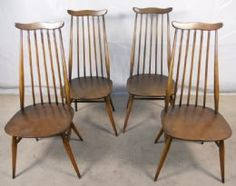 Set of Four Tall Elm Dining Chairs by Ercol - SOLD