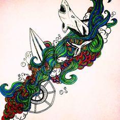 ***shark emoji*** by Jaclyn | #drawing #art #surf #ocean #shark #artist #design #colors #fun #surf