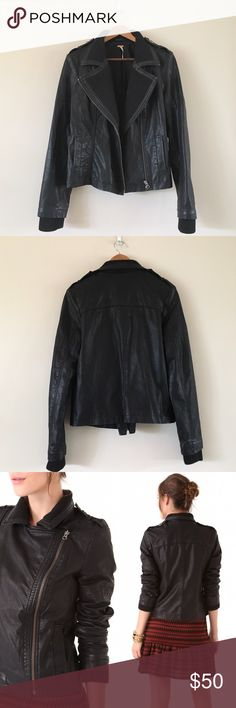 FP | Vegan Leather with Knit Rib Jacket Gently worn, still in great condition. Soft ribbing around collar, vegan leather outer.  • no paypal, no trades • i do not model • no offers please - prices are firm • ask questions before buying • smoke free home • 20% discount on bundles • Free People Jackets & Coats