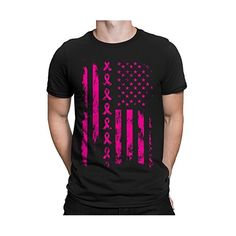 #4: Pink Ribbon American Flag Breast Cancer Awareness Men's T-Shirt, SpiritForged Apparel