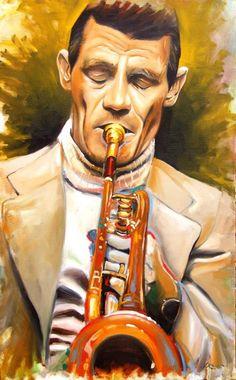 ''CHET BAKER'' série ''Monsters of Jazz'' - óleo sobre canvas