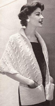 Vintage Knitted Sweater Shawl Wrap collar pockets Pattern ContraltoShawl