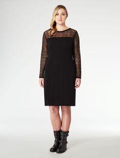 Marina Rinaldi GIO black: Knit and flannel dress.