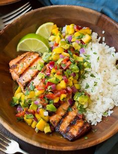 Salmon with Avocado + Mango Salsa and Coconut Rice Recipe: Coconut Dinne. - Salmon with Avocado + Mango Salsa and Coconut Rice Recipe: Coconut Dinne. - 600738037777734432 11 unusual ways to make food!, Grilled Salmon with Avocado Greek Salsa and Orzo Healthy Summer Dinner Recipes, Rice Recipes For Dinner, Summer Recipes, Healthy Recipes, Diet Recipes, Grilled Recipes, Healthy Dinners, Cooker Recipes, Breakfast Recipes