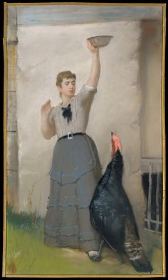 Feeding the Turkey 1872-80.  Eastman Johnson LOL, this looks like me with apples for my horses.