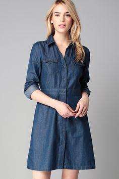 Robe chemise denim Bleu Vila sur MonShowroom.com